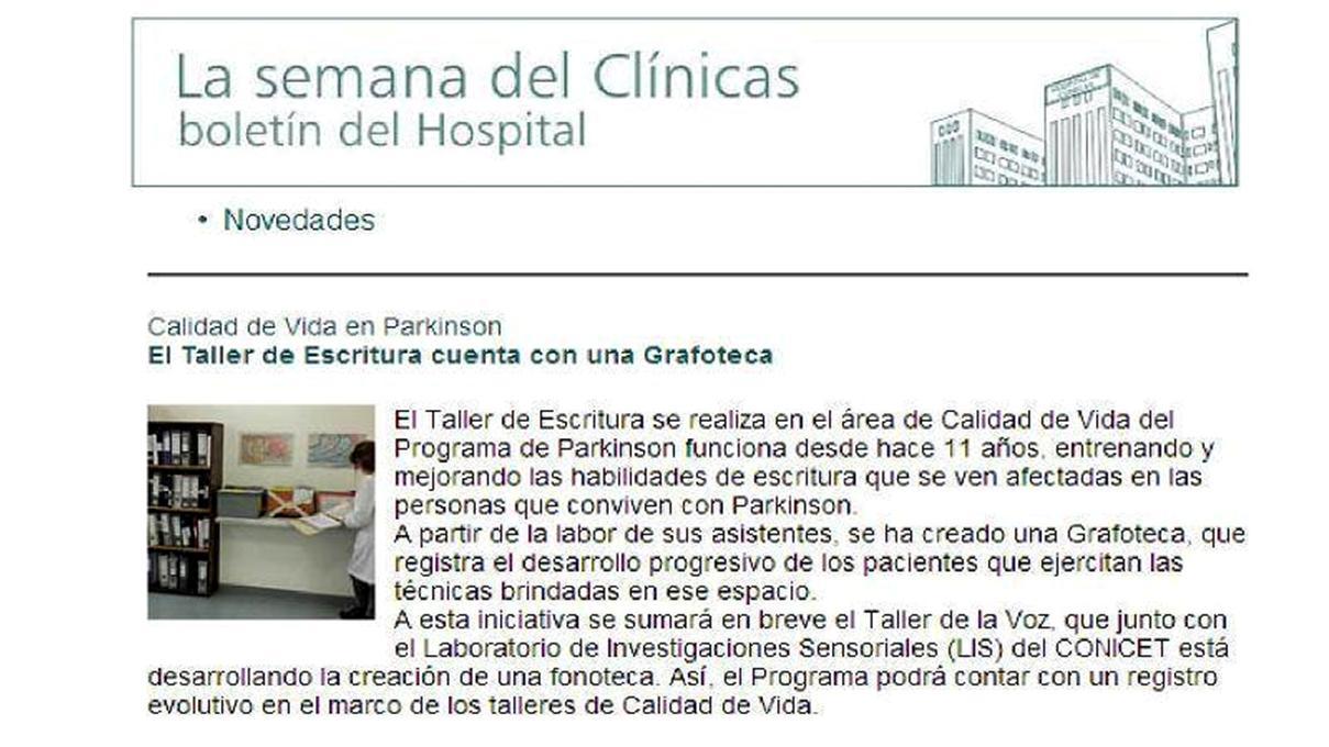 Publicación del Hospital escuela de la Universidad Nacional de Buenos Aires