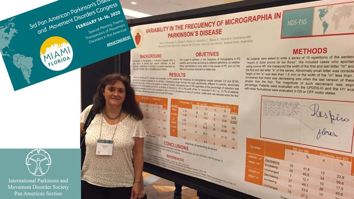 Investigación de Adriana Ziliotto en Congreso de Movement Disorders Miami 2020